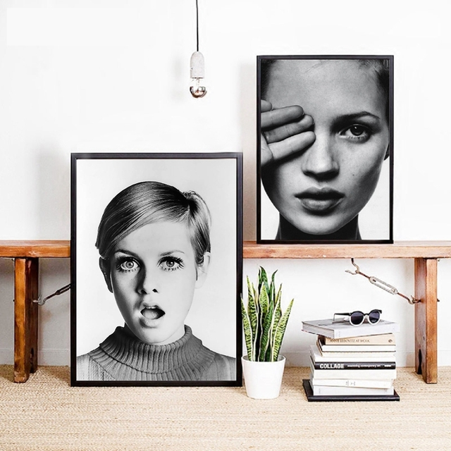Fashion pop girl poster black and white photograph print nordic fashion girl portrait canvas painting