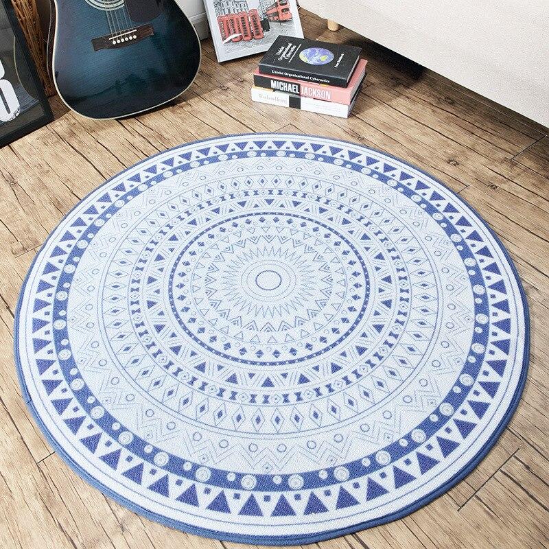 200x220CM Europe Blue White Geometric Round Carpet Floor Mats Living Room Table Bedroom Blanket Coffee Bar Rugs Doormats