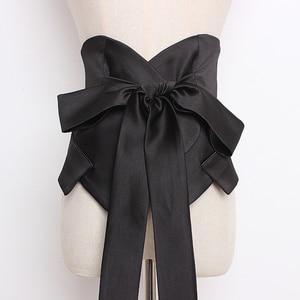Image 3 - [EAM] 2020 년 봄 여름 블랙 Bangahe Bow 불규칙한 기질 성격 긴 와이드 벨트 여성 패션 All match JR927
