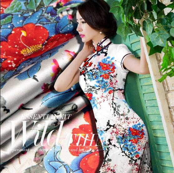 Silk Satin Elastic Loading Heavy Fog Around The Plum Tea Silk Cloth Fabric Printing Digital Printing