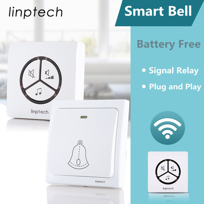 Linptech G1 wireless door bell 2 receivers 2 transmitters waterproof plug in wireless doorbell 2 receivers push button doorbell 2 receivers 60 buzzers wireless restaurant buzzer caller table call calling button waiter pager system