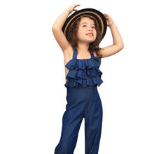 2018 Fashion Toddler Kids Baby Girl Sleeveless Backless Strap Denim Overall Romper Jumper Bell Bottom Trousers Summer Clothes(China)