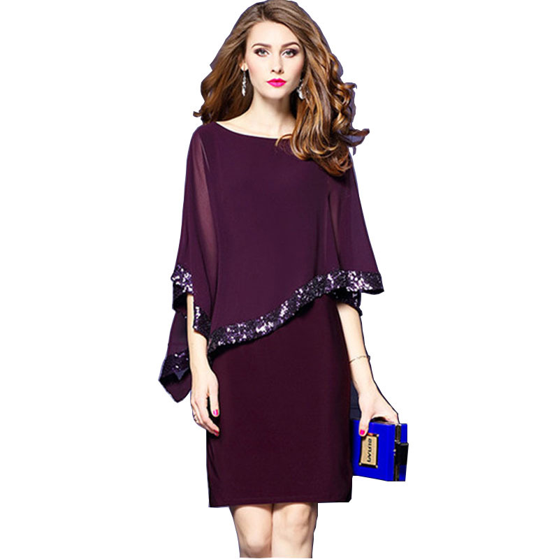 New black purple blue stitching sequin <font><b>dress</b></font> nightclub <font><b>dress</b></font> women's casual O-Neck Sleeve Casual <font><b>Dress</b></font> Party <font><b>Dresses</b></font> <font><b>2018</b></font> image