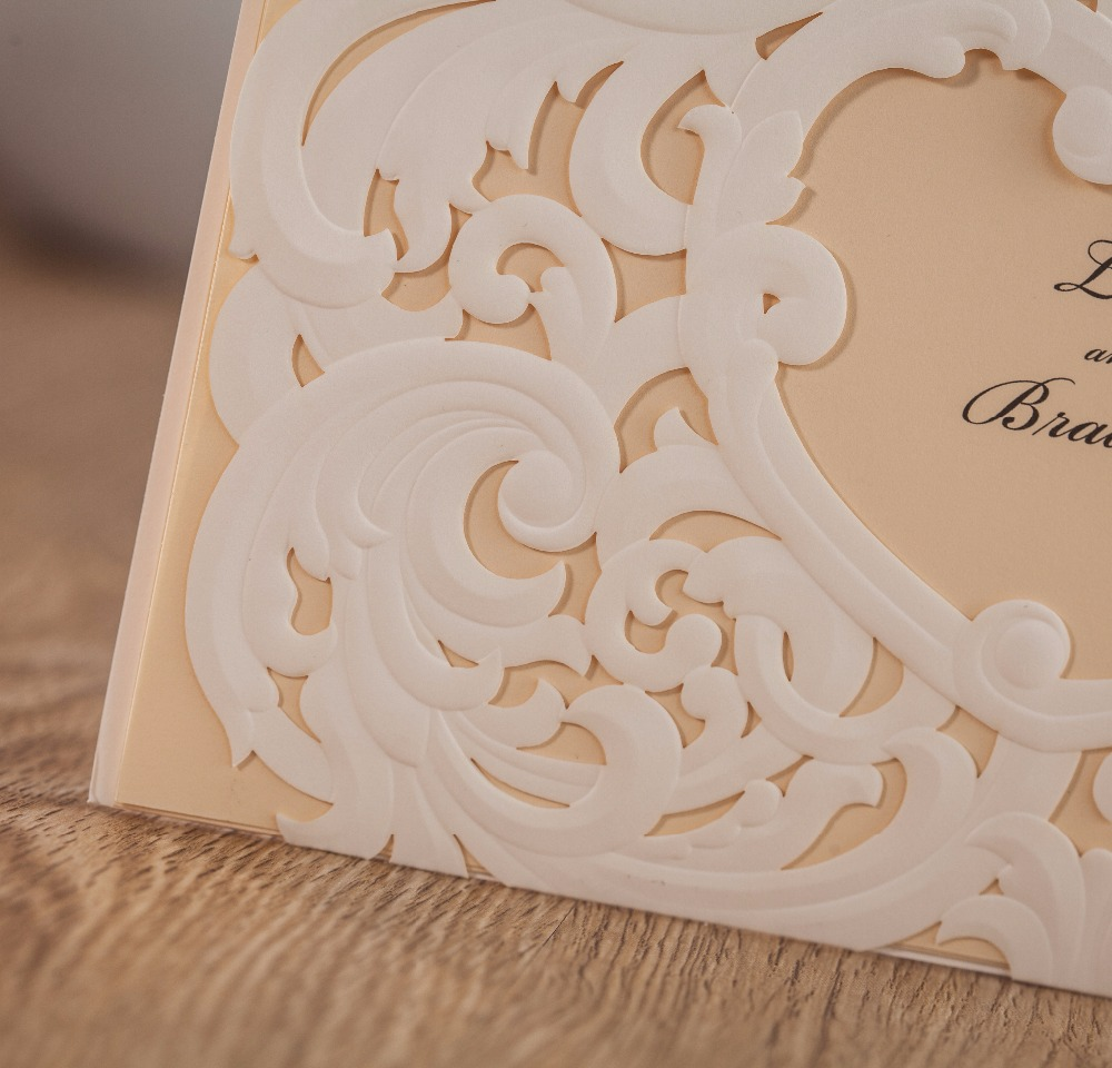 WISHMADE Embossed Wedding Invitation Card Heart Design 50pcs Free ...