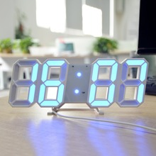 3D LED Digitale Elektronische Alarm Uhren Schreibtisch Wanduhr USB LED Rot Blau Rosa Weiß 12/24 Stunden Datum Zeit Temperatur beleuchtung