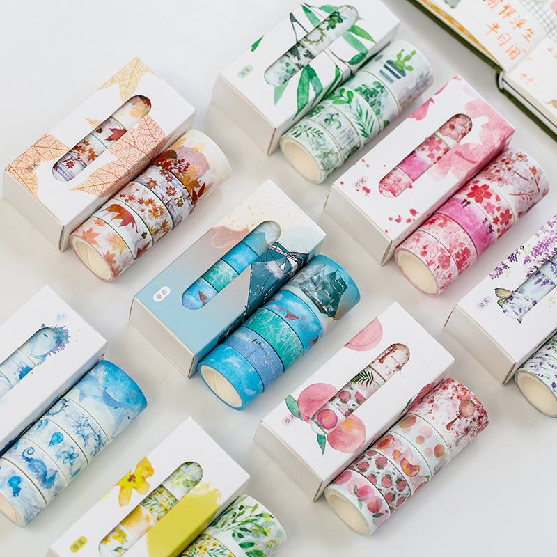 5 Pcs/Box Beautiful Flower Washi Tape DIY Decoration Scrapbooking Planner Masking Tape Adhesive Tape Label Sticker Stationery