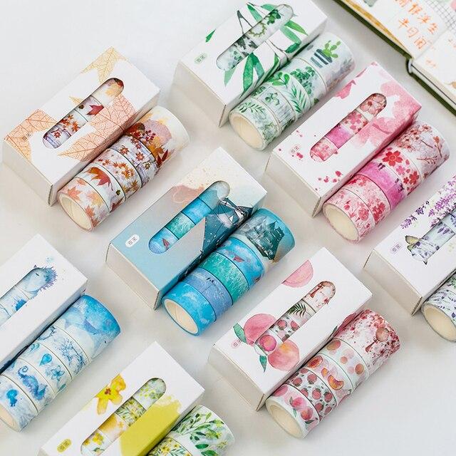 5 unids/caja hermosa flor washi cinta DIY decoración scrapbooking planificador cinta adhesiva etiqueta adhesiva papelería
