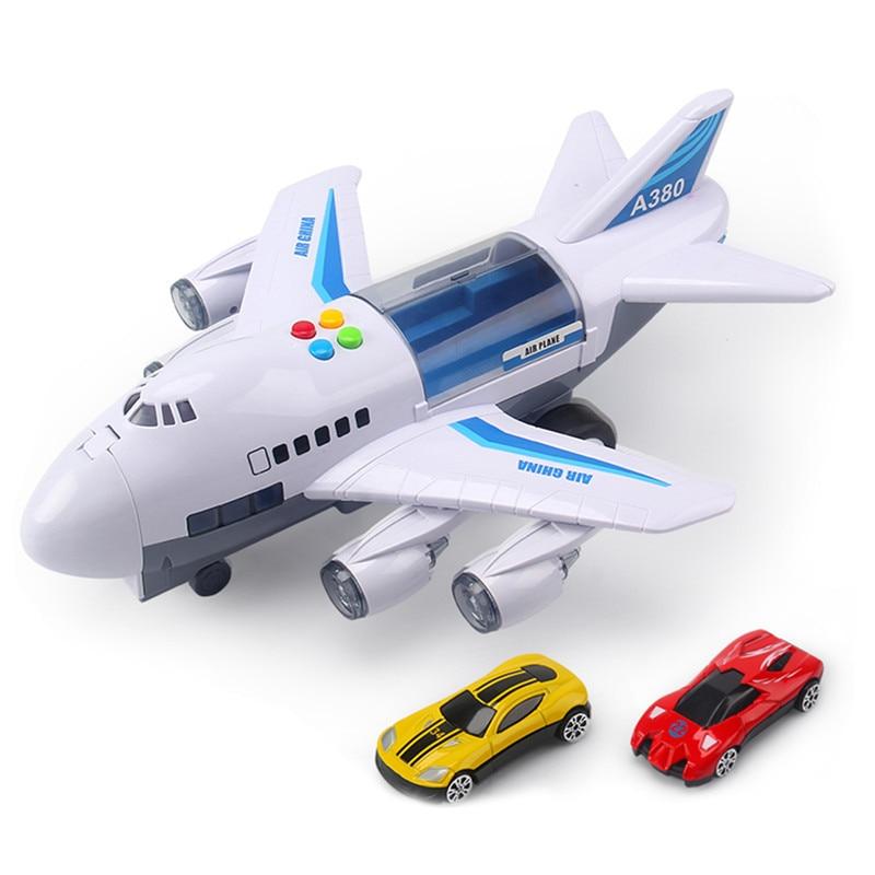 Музыкальная история, имитация трека, инерция, детская игрушка, самолет, большой размер, пассажирский самолет, детский Авиалайнер, игрушечный автомобиль, бесплатный подарок, карта - Цвет: Белый