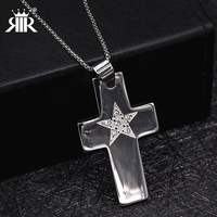 RIR Fashion Male Cross Pendant Silver Color Stainless Steel Zirconia Jesus Cross Pendant Necklace Jewelry For Men woman gift