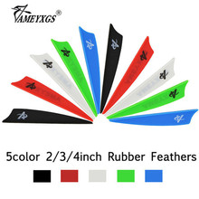 50pcs Archery 2/3/4 Arrow Feathers Rubber Feather Shield-shape Fletches For Compound/Recurve Bow Hunting Shooting Accessories