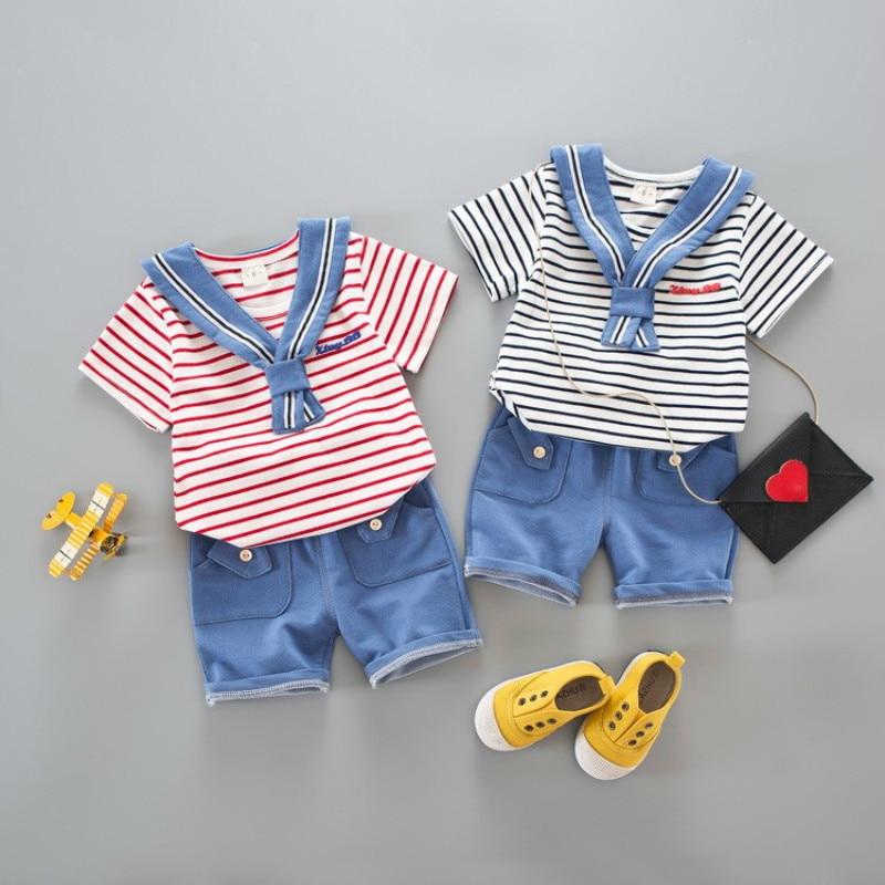2019 New Hot Summer Leisure Cotton Stripe Navy Sailor Serve Short Sleeve Shorts 2pcs Children Kids Toddler Suits For 0 4 Years