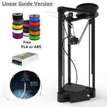 Impresora 3D Reprap Kossel Rostock Automático de Nivel Delta Lineal Carril de Guía Delta Impresora 3D DIY Con Calentador de Cama & Power + Free PLA