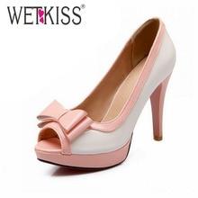 2016 Brand High Heels Platform Shoes Fashion Patch Color Bowtie Open toe Sandals Woman Women Sandals Summer Style