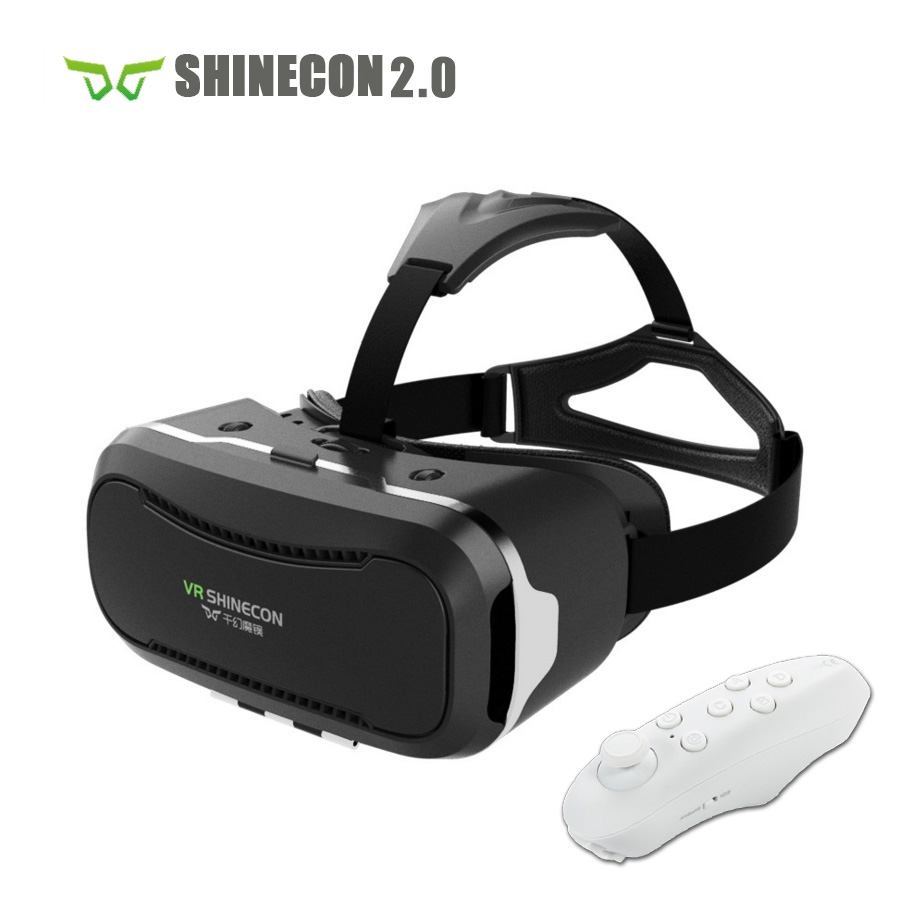 VR Shinecon 2 0 Helmet Cardboard 3D VR Glasses Mobile Phone 3D Video Movie for 4