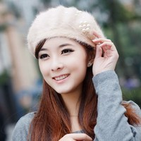 Autumn And Winter Beret Hat Female Knitted Rabbit Hat Wool Knitted Women S Winter Thermal Fur