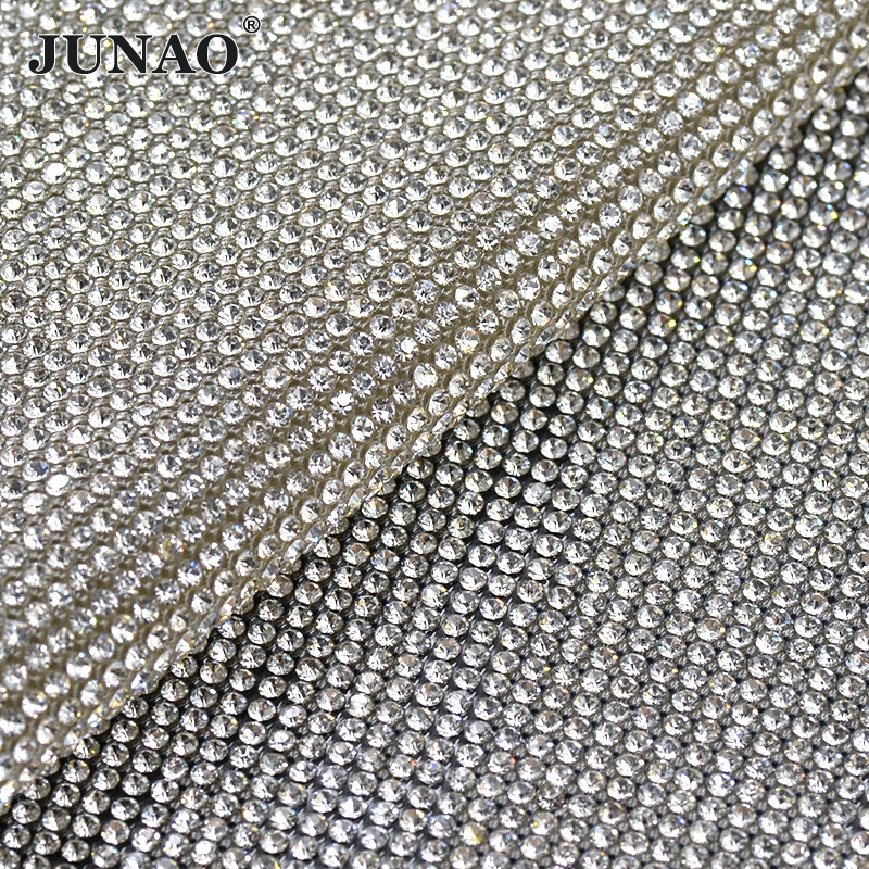 JUNAO 24 * 40cm Hotfix Clear Glass Rhinestones Mesh Trim Crystal Pärlor Fabric Sheet Strass Appliques Band För DIY Dress Skor
