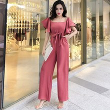 2019 Strapless Butterfly Sleeve Jumpsuits Women Elegant Solid Ruffles Rompers High Street Wide Leg Flounce Tube Jumpsuit flounce sleeve solid top