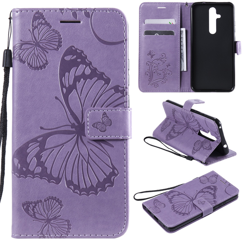 Butterfly Leather Flip Wallet Case For <font><b>Nokia</b></font> 4.2 3.2 Wallet Cover Case For <font><b>Nokia</b></font> 1 2.1 3.1 5.1 7.1 8.1 Plus Phone X7 <font><b>X71</b></font> Coque image
