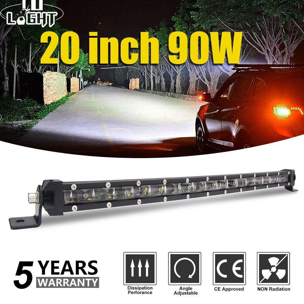 CO lumière Super mince 6D 20 pouces 90W barre de lumière Led Combo Led faisceaux lumière de travail automatique pour Jeep ATV Lada Niva hors route 12V 24V barre de Led