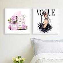Pósteres impresos Vintage de la cubierta de Vogue, póster de moda de acuarela cuadro sobre lienzo para pared Fotos decoración de la habitación del hogar