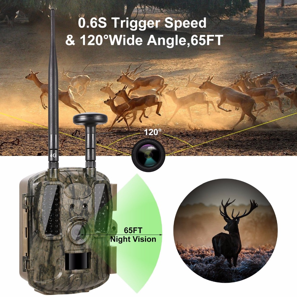 4G Wireless Trail Camera GPRS/MMS/SMS/SMTP Game Wildlife Camera GPS 12MP 1080P HD 52PCS IR LEDS Infrared Night Vision Trap photo