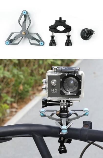 Fr Gopro Hero Shock Absorber Adapter Bracket Xiaoyi 4K Sports Camera Mount Bicycle Conversion Holder Clamp Fr 15-31mm Dia Tube