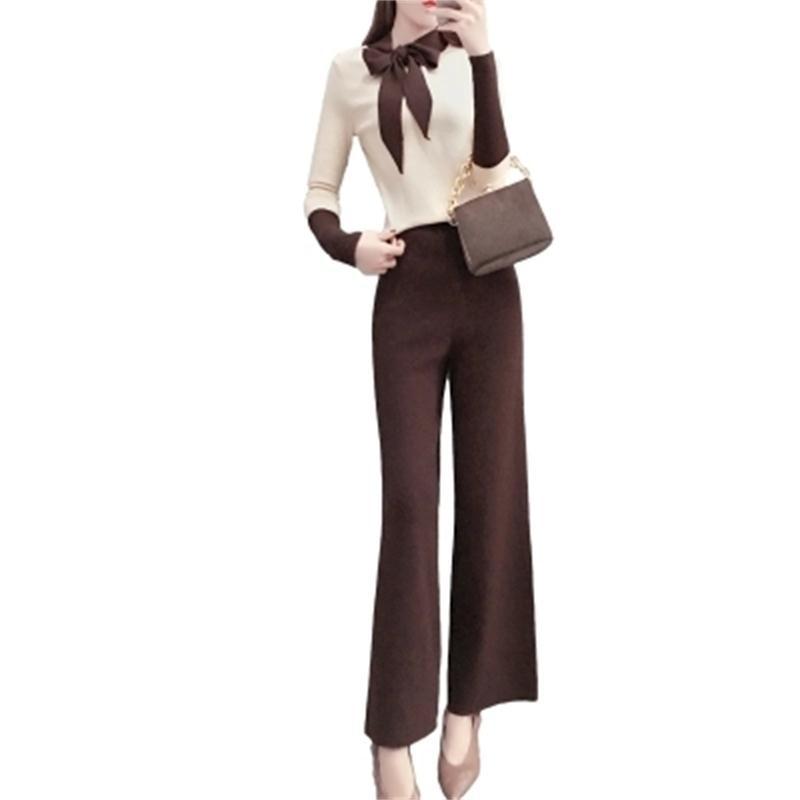 Mode Jambe Femmes Avec Cravate Chandail Nouveau Ressort 1 Deux Tempérament Pantalon Costume Ensembles Femelle Arc Large rxnCqvRr4w