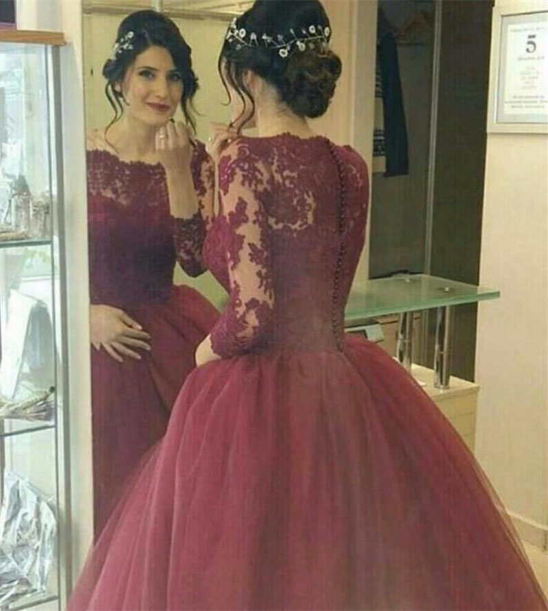 Ball Gown Women Formal Dresses Stylish Evening Gowns Burgundy Robe ...