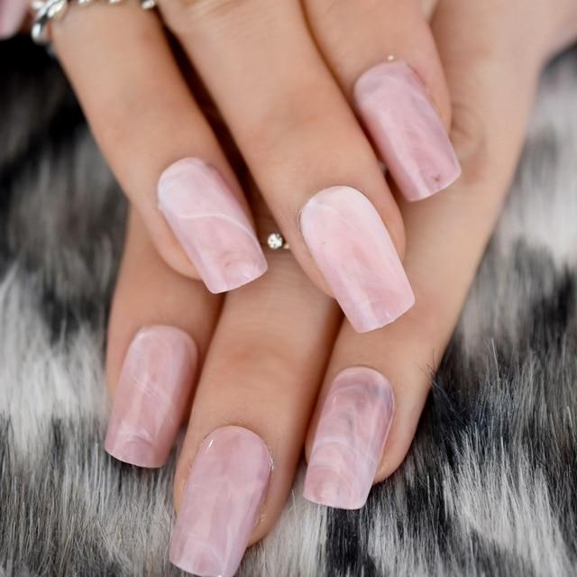 Square Head False Nails Tips Pink Marble Texture Fake Nail Acrylic Full Wrap Artificial