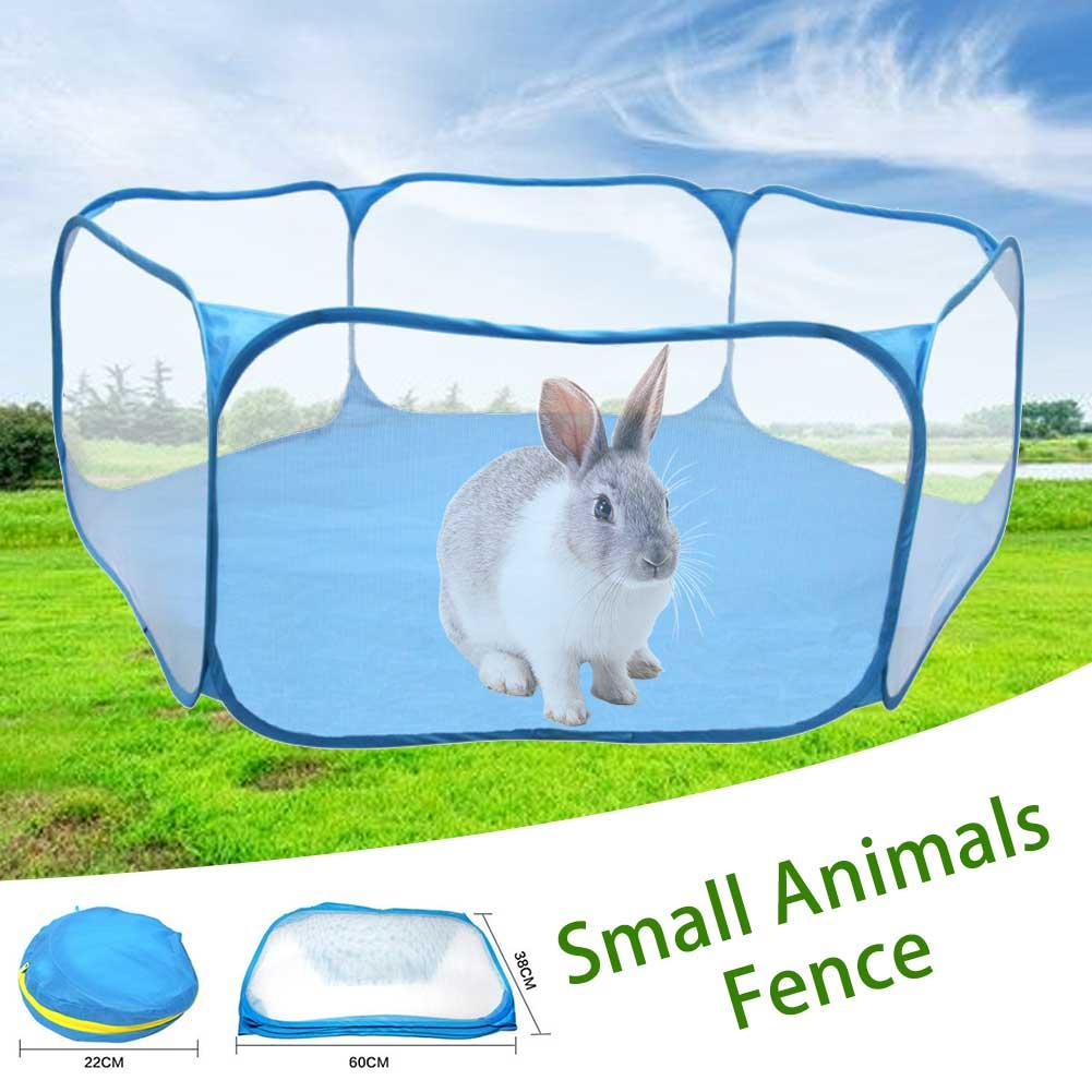 Small Animals Cage Tent Breathable Transparent Pet Playpen Pop Open Portable Folding Yard Fence For Hedgehog Guinea Pig Rabbit