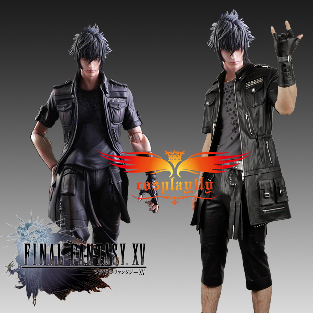 Final Fantasy XV FFXV FF15 Noctis Lucis Caelum Noct PU Made Jacket,Shirt,Pants Outfit Clothing Cosplay Costume with One Glove