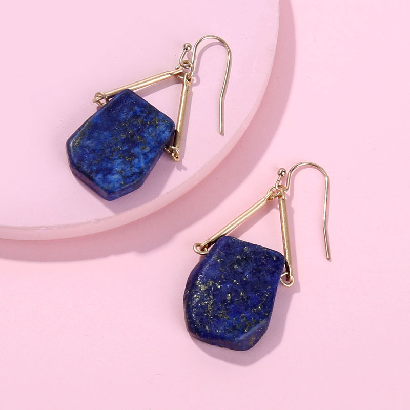 Hui Dang Fashion Gold Plating Geometric Natural Semi Precious Lapiz Quartz Stone Drop Statement Earrings for Women