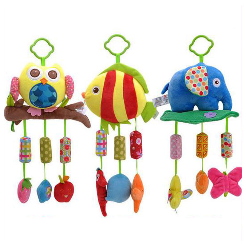 Baby Toys 0~12 Months Handcart Infant Car Pendant Bells Music Newborn Rattle Plush Crib Bed Baby Stroller Toys Hanging Hand Bell