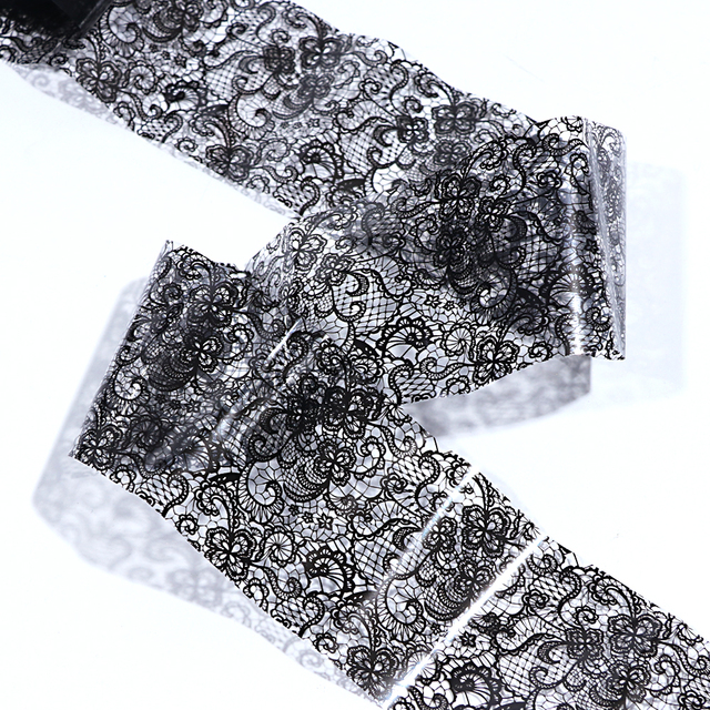 Black Lace Transfer Foil Sexy Nail Art