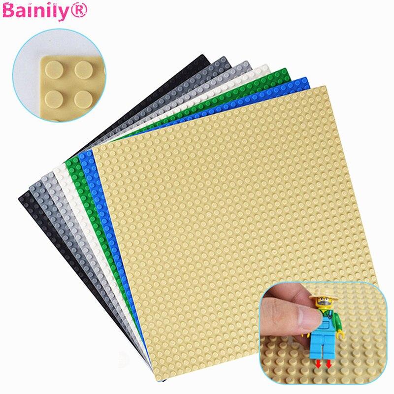 Galleria fotografica 32*32 Dots Classic Base Plates Plastic Building Blocks Floor Thick Compatible <font><b>LegoINGly</b></font> <font><b>City</b></font> Baseplate Construction Kids Toys