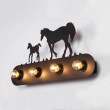 LOFT Industry wind Wall Lamp Stair aisle corridor bedside Restaurant Bar cafe light creative Wall decorative horse art Lamp modern concise creative art fashion white black wall lamp cafe bar restaurant bedroom office aisle decoration lamp free shipping