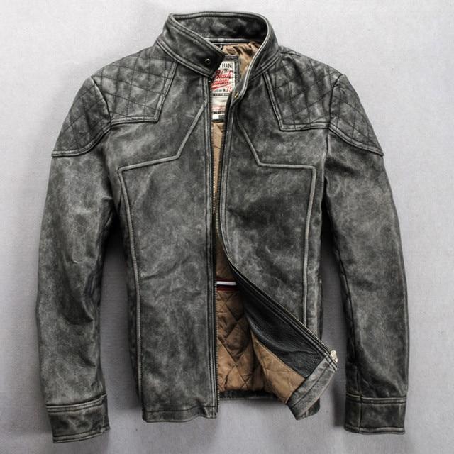 Vintage Leather Jacket >> Us 268 0 Men S Vintage Leather Motorcycle Jacket Gray Slim Fitted Mandarin Collar Solid Leather Jacket Men Fashion Biker Jacket Coat Male In Genuine