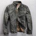 vintage leather motorcycle jacket men gray slim fitted mandarin collar fashion leather jacket men slim biker jacket coat for men