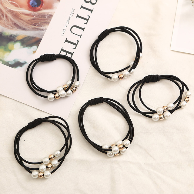 2018 Hair Accessories Pearl Elastic Rubber Bands Ring Headwear Girl Elastic Hair Band Ponytail Holder Scrunchy Rope Hair Jewelry 4