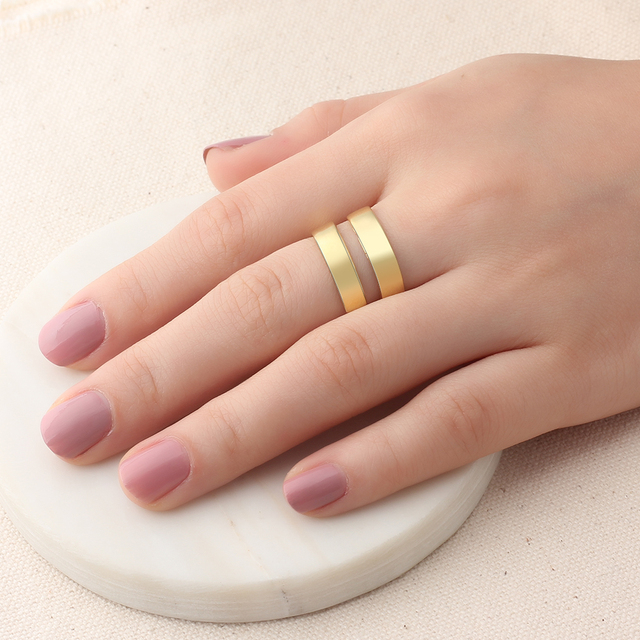 Personalized Gift Customize Engraved Name Gold Color Adjustable Rings For Women Anniversary Jewelry (JewelOra RI102973)