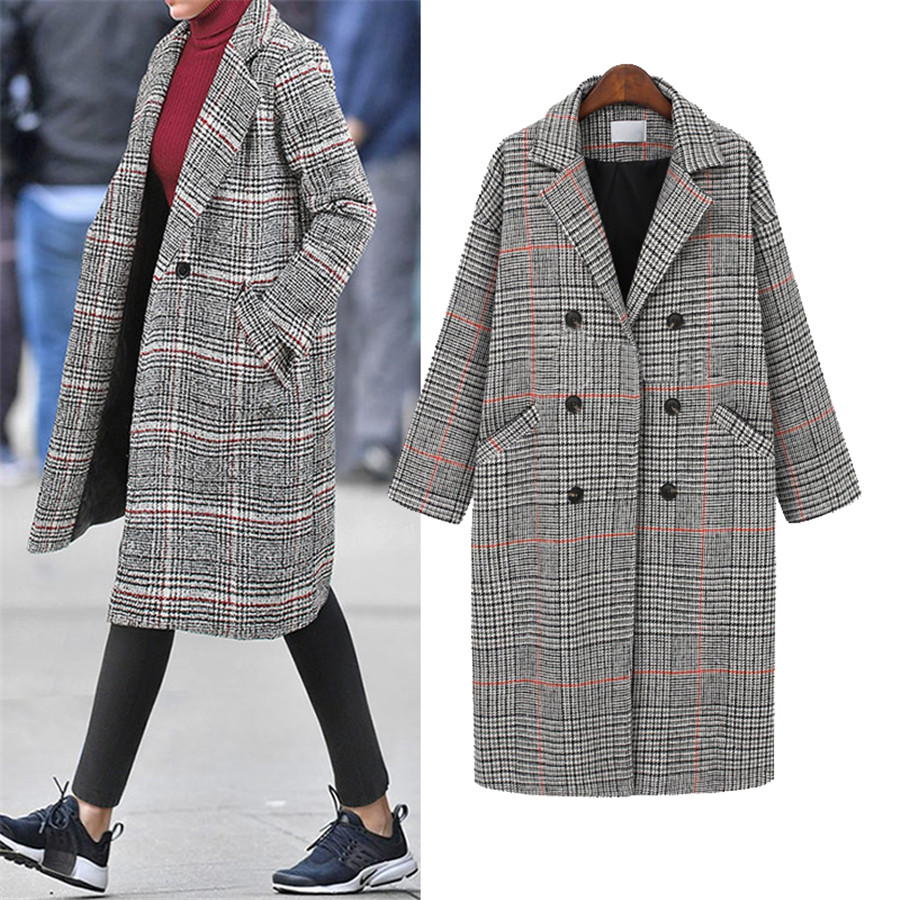 Hodisytian Winter Fashion Women Check Wool Blends Coat Casual Cotton Long Thick Cardigan Female Cashmere Overcoat