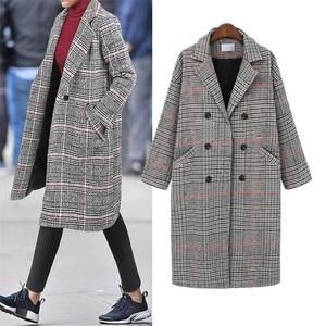 Image 1 - Hodisytian Cardigan Long et épais, mélange de laine à carreaux pour femmes, manteau en cachemire, grande taille 4XL, mode hiver décontracté coton