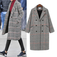 Hodisytian Winter Fashion Women Check Wool Blends Coat Casual Cotton Long Thick Cardigan Female Cashmere Overcoat Plus Size 4XL