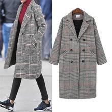 Hodisytian Winter Fashion Women Check Wool Blends Coat Casual Cotton Long Thick Cardigan Female Cashmere Overcoat Plus Size 4XL