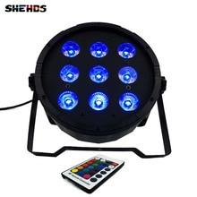 4 piezas de Control remoto inalámbrico LED Par 9x12W 4 en 1 RGBW LED etapa luz LED plano SlimPar Quad Can con DMX512 DJ plano