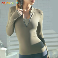 Colorvalue New Half Zipper Yoga Fitness Shirts Women Slim Fit Nylon Workout Gym Tops Anti sweat Sport Pullover with Thumb Holes