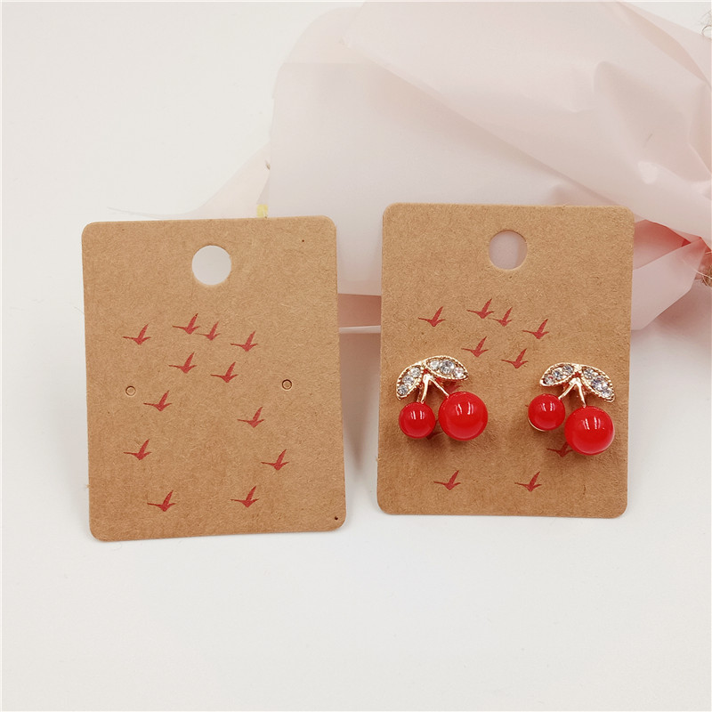 50Pcs/Lot Earring/Necklace Card For Women Jewelry Set Accessory Display Packing Kraft Paper Cardboard 5x4/10x8cm With Painting