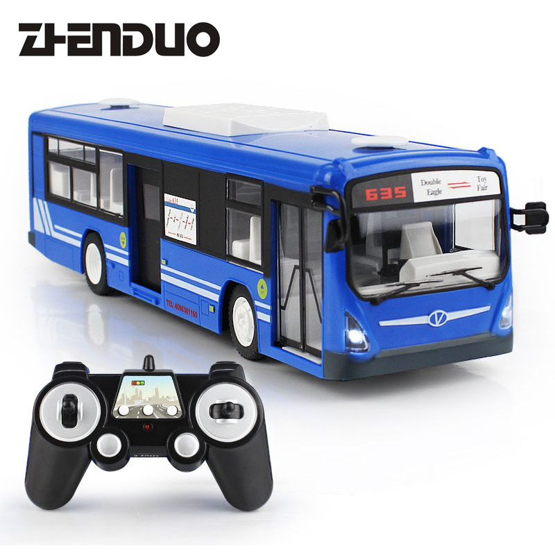 ZhenDuo 2.4G Remote Control Bus Car Charging Electric Open Door RC Model Toys For Children Gifts
