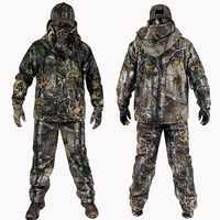 4 PC hiver Bionic Camouflage chasse costumes en plein air militaire tactique randonnée vêtements veste pantalon coupe-vent à capuche gants chapeau