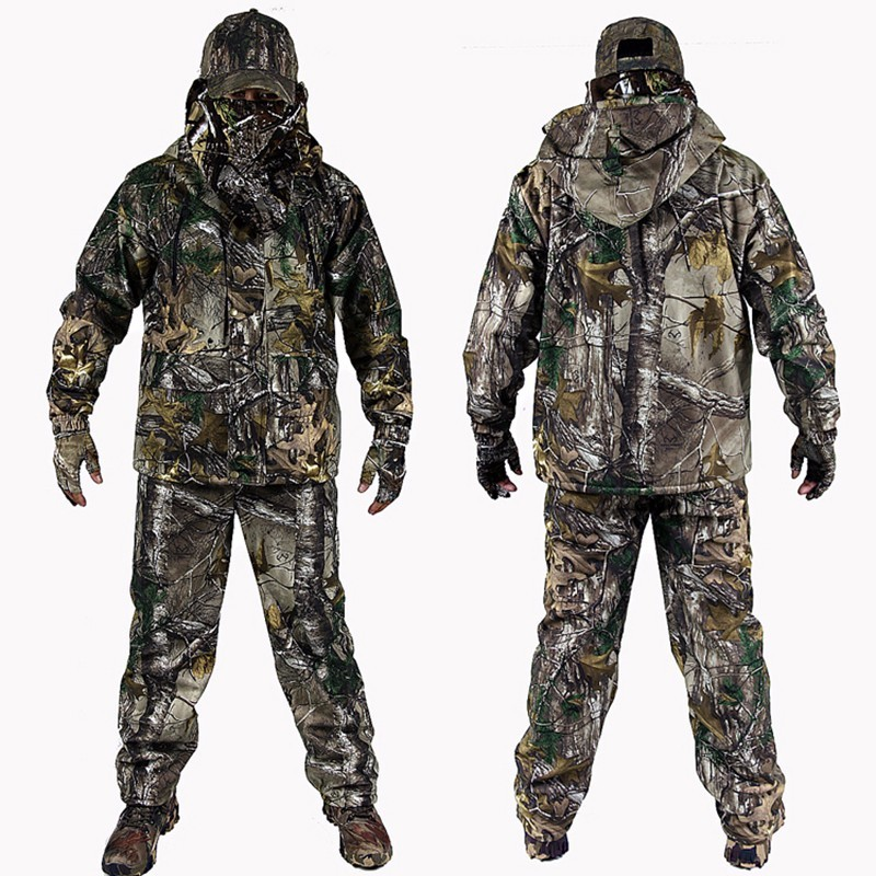 4 PC Winter Bionic Camouflage Hunting Suits Outdoor Military Tactical Hiking Clothing Jacket Pants Windbreaker Hoodie Gloves Hat